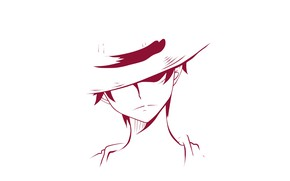 Picture minimalism, hat, guy, One Piece, Monkey D. Luffy