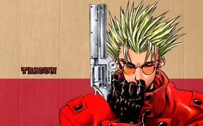 Picture Red, Art, Anime, Wood, Colt, Weapon, Trigun, Man, Glasses, Pose, Gloves, Letters, Leather, Character, Vash …