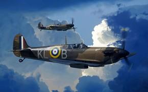 Picture pair, Royal Air Force, Supermarine Spitfire Mk I, Spitfire Mk.Ia, 8x7.69-mm machine guns Browning