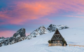 Picture winter, the sky, clouds, snow, sunset, mountains, traces, comfort, stones, rocks, tops, the fence, view, …