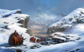Picture fantasy, mountains, snow, artist, digital art, artwork, Andreas Rocha, fantasy art, creatures, caravan