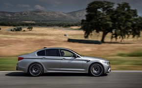 Picture grey, tree, vegetation, speed, BMW, profile, sedan, 4x4, 2018, four-door, M5, V8, F90, M5 Competition