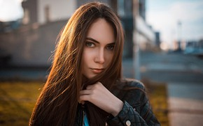 Picture look, the sun, pose, street, model, portrait, makeup, jacket, hairstyle, brown hair, beauty, bokeh, Polina, …