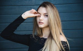 Picture girl, long hair, photo, photographer, blue eyes, model, tattoo, lips, blonde, top, portrait, mouth, open …
