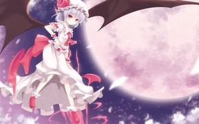 Picture night, the full moon, red eyes, art, vampire, Remilia Scarlet, touhou projeck, black magic, blood …