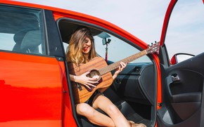 Picture girl, the sun, pose, guitar, makeup, hairstyle, brown hair, car, sitting, salon, smiling, closed eyes