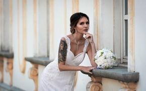 Picture pose, bouquet, dress, the bride, Elena