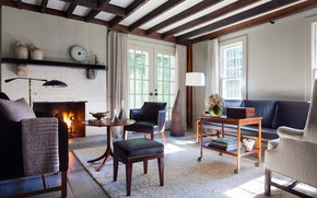 Picture interior, fireplace, living room, New-York, Hillsdale