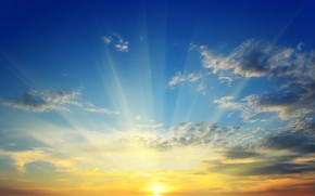 Picture the sky, the sun, clouds, rays, dawn