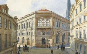 Picture 1880, Albert Nikolaevich Benois, VIEW OF THE RIGA STOCK EXCHANGE, watercolour over pencil