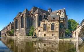 Picture the sky, water, the sun, trees, bridge, reflection, home, channel, temple, Belgium, Gent