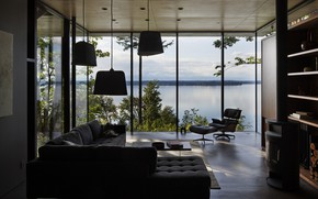 Picture interior, fireplace, Washington, living room, Living room with a view, located near Olympia