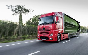 Picture road, red, markup, vegetation, Mercedes-Benz, tractor, 4x2, Actros, the trailer