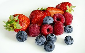 Picture berries, raspberry, blueberries, strawberry, white background