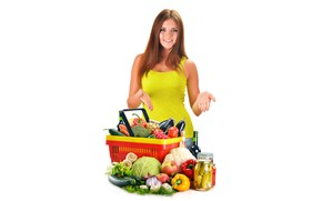 Picture girl, smile, wine, basket, apples, mushrooms, food, makeup, Mike, hairstyle, eggplant, white background, bottle, brown ...