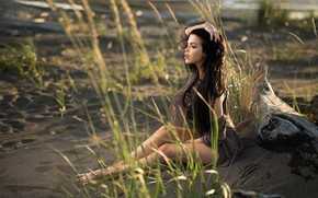 Picture grass, the sun, pose, model, portrait, makeup, figure, brunette, hairstyle, snag, legs, sitting, on the …