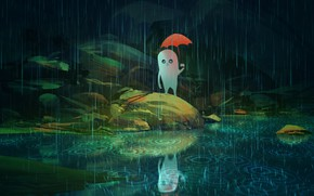 Picture something, spirit, being, alien, the shower, art, the reflection in the water, red umbrella, in …