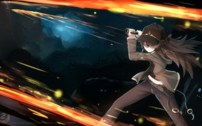 Picture fire, sword, anime, art, Pokemon, Pokemon