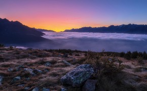 Picture clouds, sunset, mountains, nature