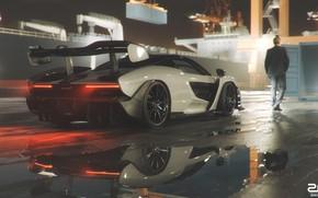 Picture McLaren, Auto, Port, Machine, The ship, Car, Male, Supercar, A container ship, Sports car, Senna, …