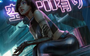 Picture city, girl, alone, cyberpunk, tatoo, eye, sitting, arm, zed, mechanic