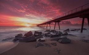 Picture sea, sunset, bridge, Spain, Pont Del Petroli