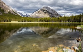 Picture forest, the sky, mountains, reflection, stones, rocks, shore, the slopes, view, ate, Canada, Albert, pond, …