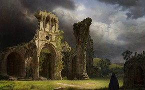 Picture the sky, clouds, vegetation, the ruins, ruins