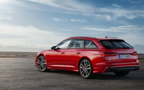 Picture the sky, asphalt, red, Audi, Parking, universal, 2019, A6 Avant, S6 Before