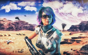 Picture girl, space, the explosion, smoke, planet, art, glasses, the concept, girl, trooper, infantryman, art, cosmos, …