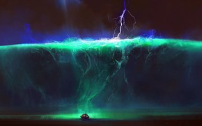 Picture Water, Lightning, Wave, Boat, Art, Tsunami