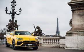 Picture Paris, Lamborghini, Eiffel tower, 2018, Urus