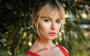 Picture look, leaves, background, model, portrait, makeup, hairstyle, blonde, bokeh, Oliver Gibbs