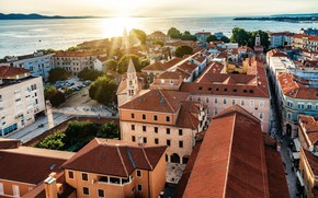 Picture sea, the sun, home, panorama, Croatia, Zadar