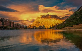 Picture forest, the sky, clouds, sunset, mountains, lake, reflection, rocks, shore, the slopes, ate, pond