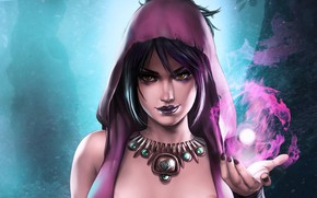 Picture girl, magic, witch, magic, Morrigan, Dragon Age, witch, Morrigan, by Dandonfuga