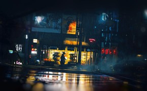 Picture The city, Neon, Street, Rain, Style, City, Art, Night, Illustration, Characters, Bugeisha, by Thomas Dubois, …