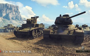 Wallpaper T-34, WoT, World of Tanks, T-70, Wargaming, T-60, M3 light