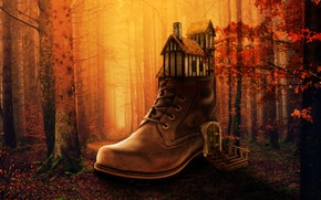 Picture autumn, forest, house, shoes
