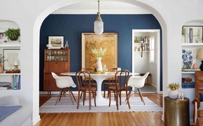 Picture room, interior, dining room, Farmhouse, Blue dining room
