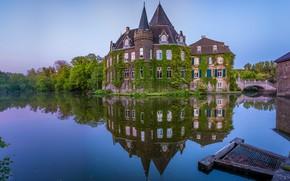 Picture water, pond, reflection, castle, Germany, architecture, Germany, ditch, Castle Lennep, Ratingen, Ratingen, Linnep Castle