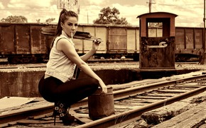 Picture look, sexy, pose, rails, makeup, cars, figure, hairstyle, cigarette, bucket, railroad, brown hair, boots, beauty, …