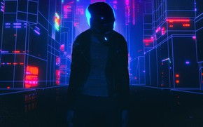 Picture Music, The city, People, Style, Helmet, Fantasy, Art, Graphics, Art, 80s, Style, Fiction, Neon, Fiction, …