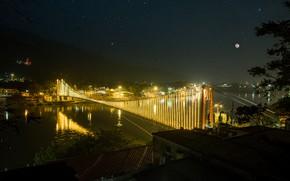 Picture lights, moon, photography, nature, life, bridge, sony, beauty, india, nightlife, landscap, stard, rishikesh