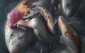 Picture girl, mermaid, fish, fantasy, pink hair, Котикомори