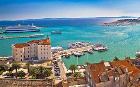 Picture sea, the city, ships, port, promenade, Croatia, Split, Jadran