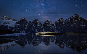 Picture stars, mountains, night, Canada, Albert, Banff National Park, Minnestimma Lake