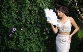 Picture flowers, pose, Bush, fan, Camila