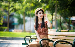 Picture girl, Park, hair, cap, Asian, bench