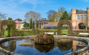 Picture the sky, the sun, trees, design, Park, lawn, building, Germany, panorama, fountain, benches, the bushes, …
